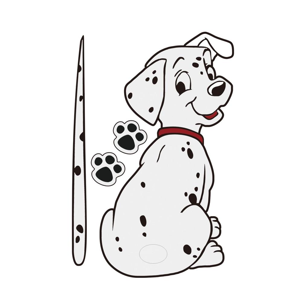 1pcs cartoon funny dalmatian dog moving tail sticker reflective car stickers car styling rear window windshield