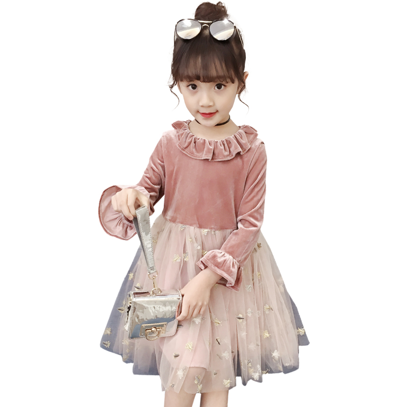 Autumn winter Girls Dress 2018 Casual Long Sleeves laceMesh Kids Dresses For Girl Autumn Clothing Cute Princess Dress spring winter girls dress 2018 casual long sleeves lace mesh patchwork kids dresses for girl new year clothing princess dress