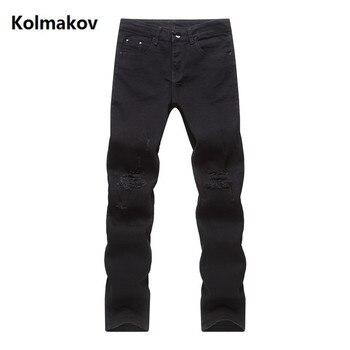 Новинка весны 2019, рваные джинсы для мужчин, черные классические модные дизайнерские джинсы, обтягивающие джинсы, Мужские повседневные обле...