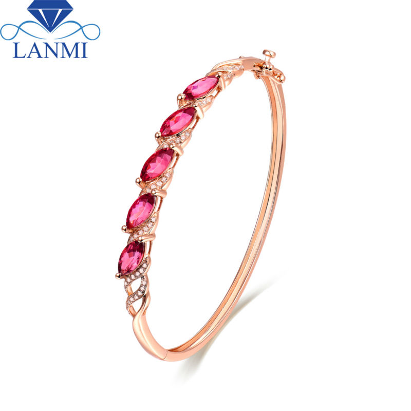 18K Rose Gold Natural Tourmaline Bracelet Marquise 4x8mm SI Clarify Diamond for Daughter Jewelry Gift NA040
