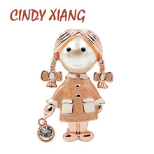CINDY XIANG Pink Enamel Little Girl Brooches for Women Cute Fashion Lolita Brooch Pin Summer Style T-shirt Jewelry Kid Good Gift