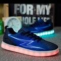 Мужская Свет Обувь 2016 Новый Chaussure Lumineuse Night Party Свет Светящиеся Usb Обувь Повседневная Дышащий Размер Продаж 35-44