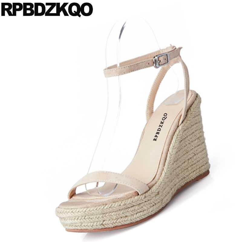 b564c32dabb Blue Ankle Strap Open Toe Rope Pumps Slingback Espadrilles Black Designer  Women Shoes Platform Wedge Sandals Summer High Heels
