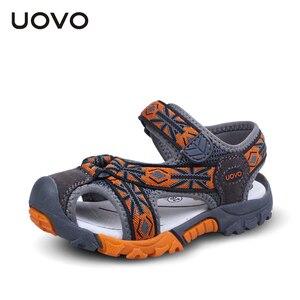 Image 3 - UOVO 2020 מותג קיץ חוף סנדלי בנים ובנות נעליים לנשימה מזדמן ספורט סנדלי פעוט #25 35