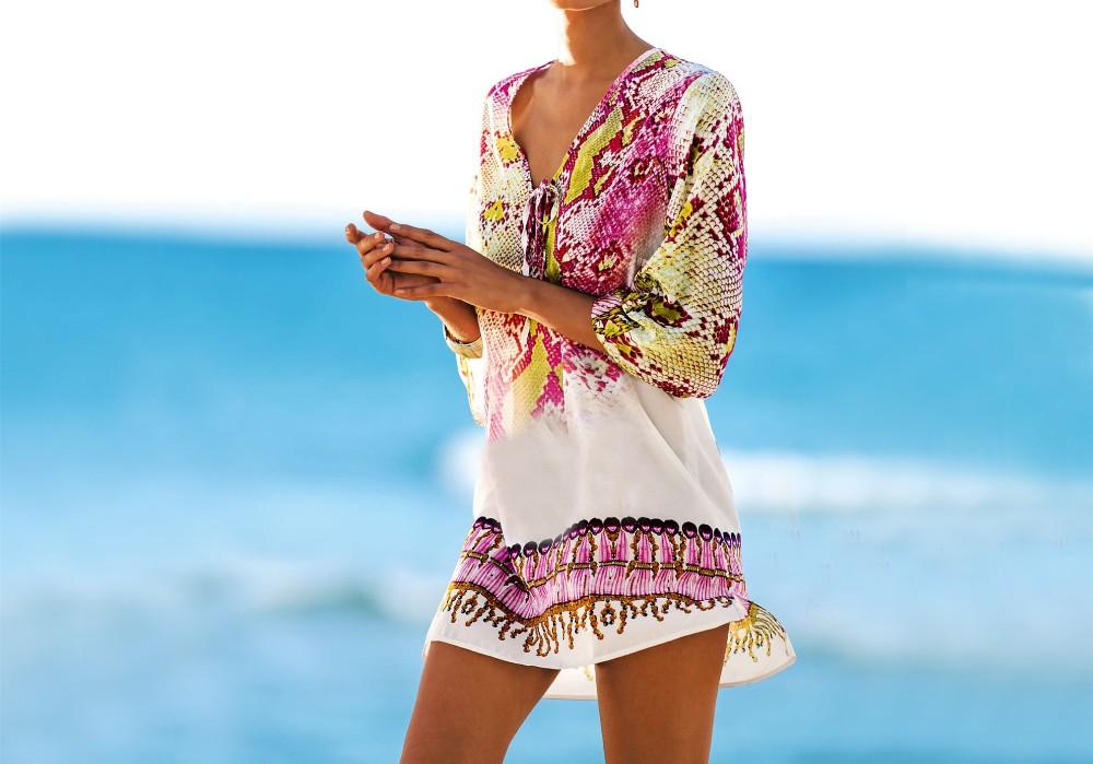 New Arrivals Beach Caftan Swimsuit Cover up Print Chiffon Pareo Women Robe Plage Swimwear Dress Sexy Sarong Beach Tunic #Q152 9