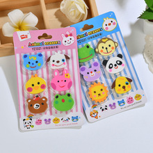 F22 1 Pack 6pcs Kawaii Cute Zoo Animals Rubber Erasers Drawing Writing Correction School Office Supply