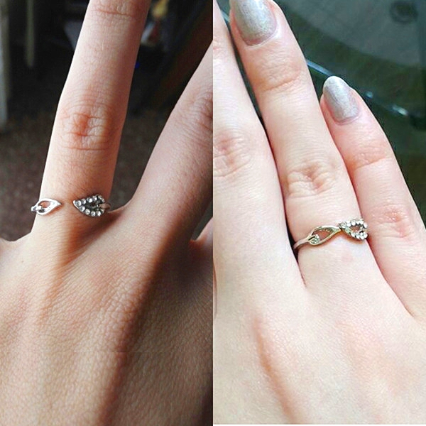 Style Lover Adjustable Crystal Drill Silver Couple Leaves font b Rings b font For font b