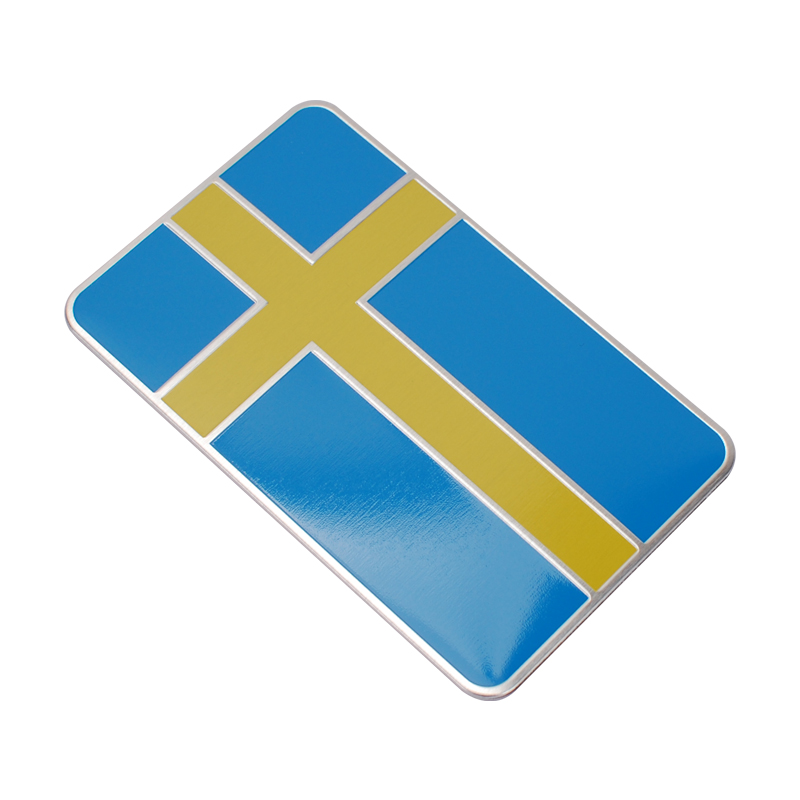 8*5CM Aluminum Car Badge Accessories for Flag of Sweden Logo Auto Emblem Sticker for Volvo BMW Audi Ford Jeep Skoda Peugeot Fiat