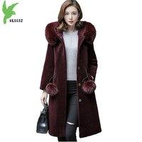 Faux Fur Winter Women Wool fur Coat Fox fur collar Hooded Jackets Plus size Thick Warm Female Sheep shearing Fur Coat OKXGNZ2111