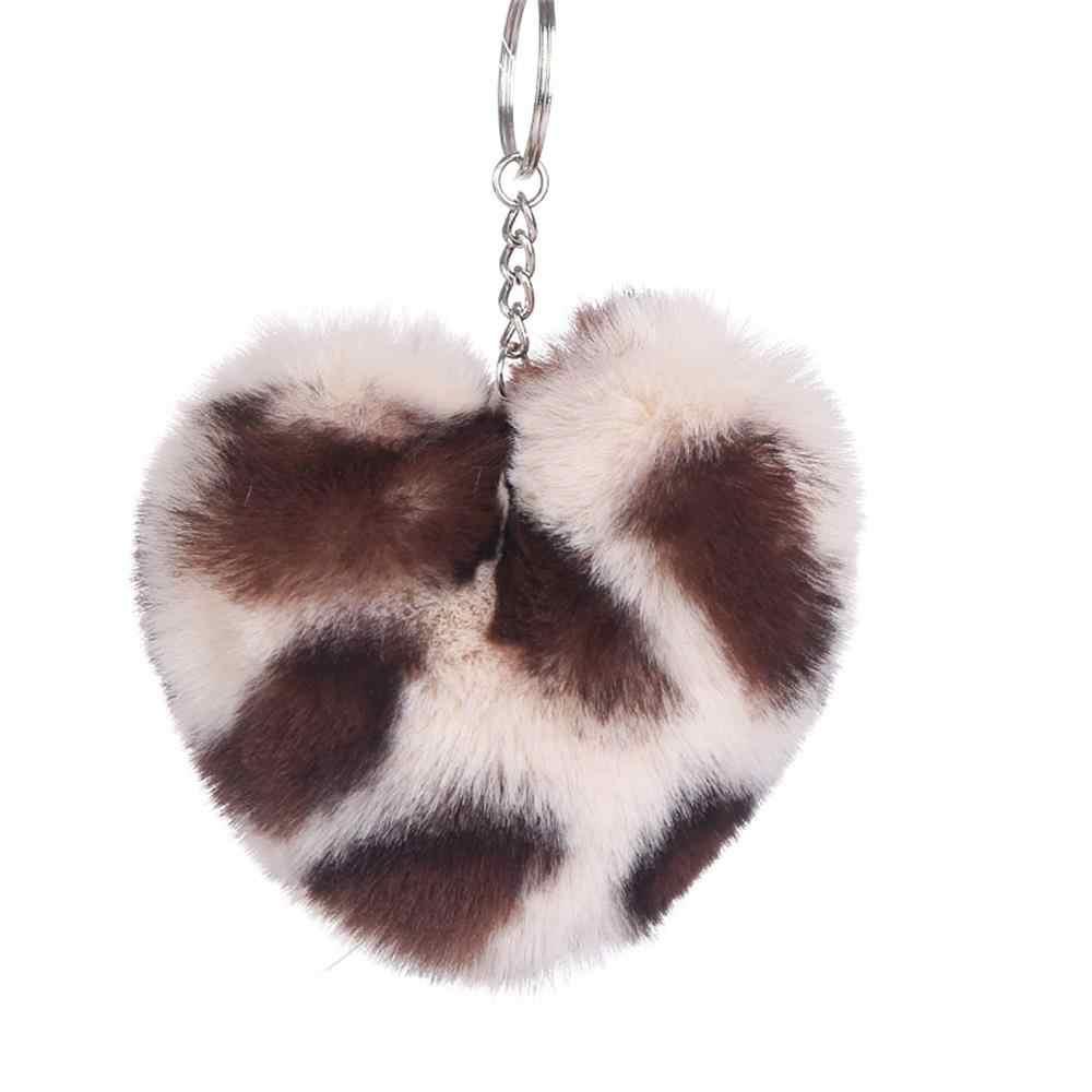 Помпон пушистый брелок Pom Leopard Heart Искусственный Кролик Мех серебряный брелок Шарм для женщин Сумочка автомобиль телефон кулон Рождественский подарок