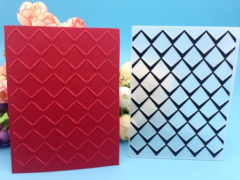 Plastic embossing folder square geometric figure wave grid for Plastic grid sheets crafts