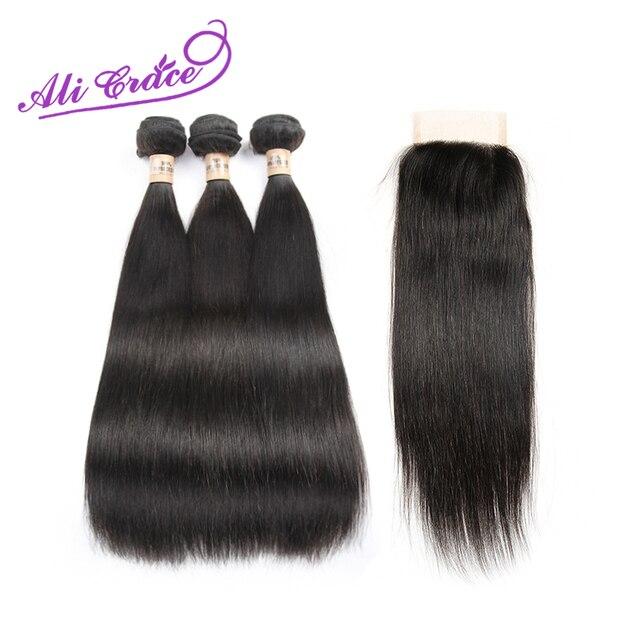 Ali Gracia Hair Products Peruano Virgen Cabello Liso Con Cierre de 3 Paquetes con Cierre Recto Pelo Peruano con Cierre