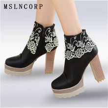 Plus Size 34-43 fashion Spring Autumn Platform Shoes Sexy Women Boots Lace Thick High Heel Ankle Boots Martin Boots Ladies Pumps 18cm sale sexy women ankle boots high heel shoes winter fashion lace up with platform pumps ladies boots on sale big size 34 46
