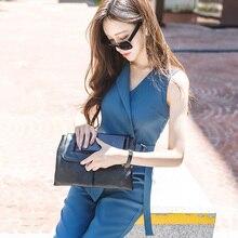 508d8fdab88 Pengpious solid color women summer v-neck sleeveless jumpsuits office lady  elegant cross v-
