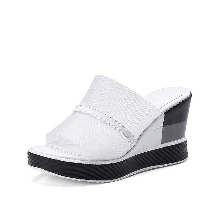 Ayakk.'ten Yüksek Topuklular'de MLJUESE 2018 kadın sandalet Hakiki deri + Net Siyah renk kayma platformu yüksek topuklu takozlar pompaları kadın boyutu 34  43'da  Grup 3