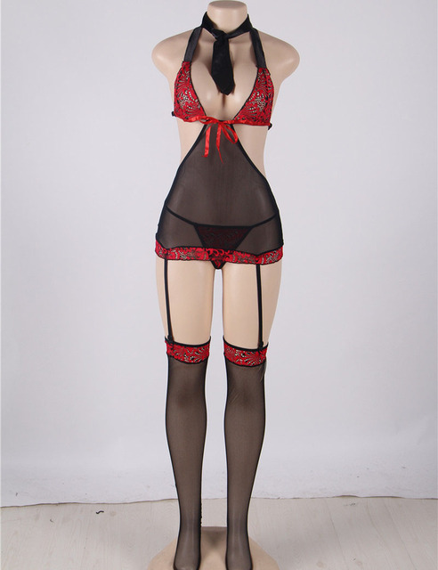Sexy women lingerie transparent stocking tie dress g string re lace chemise fashion nightgown dresses RT70193
