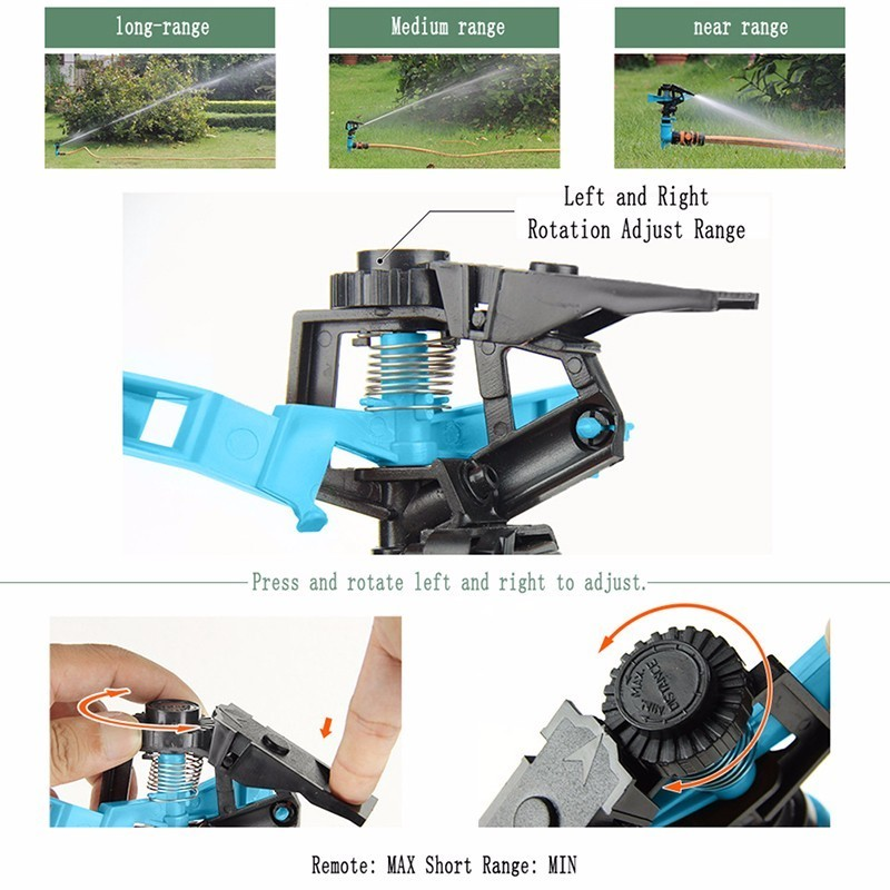 Image 5 - Garden Sprinklers Automatic watering Grass Lawn 360 Degree Rotating Water Sprinkler 3 Nozzles with Pipe Hose Irrigation System-in Garden Sprinklers from Home & Garden