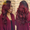 halo Hair Ombre Brazilian Virgin Hair Body Wave Ombre 1B/ Burgundy Red  Ombre Human Hair Extension human hair weave bundles