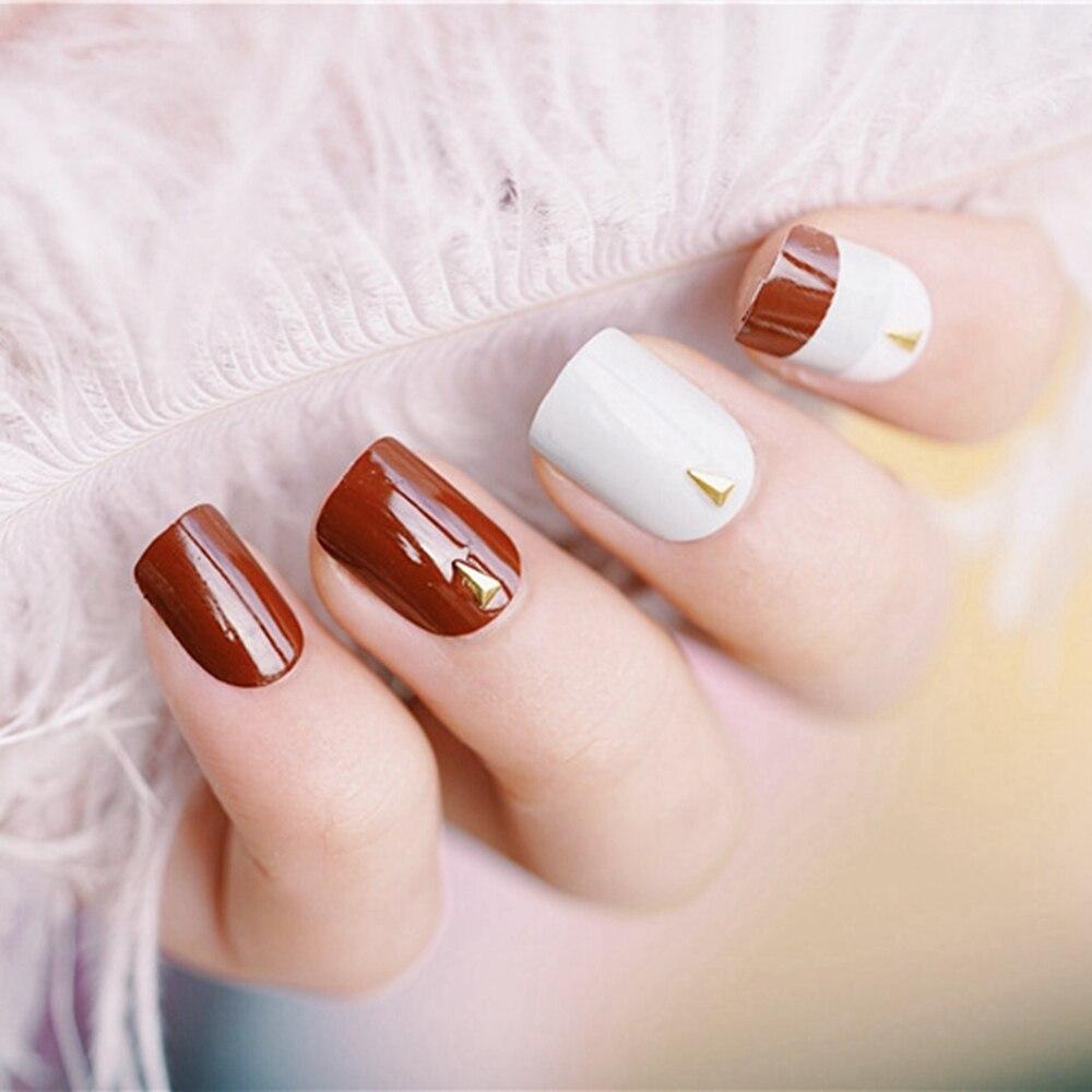 Shiny Flat Fake Nails White Grey False Nails Darkest Red Full Cover ...