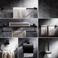 Black Bathroom Hardware Sets Soild Brass Towel Rack Bathroom Accessory Set,oil Rubbed Bronze Toilet Paper Holder Towel Ring
