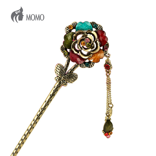 Chinese Traditional Hair Stick Resin Flower Erflay Accessories Retro
