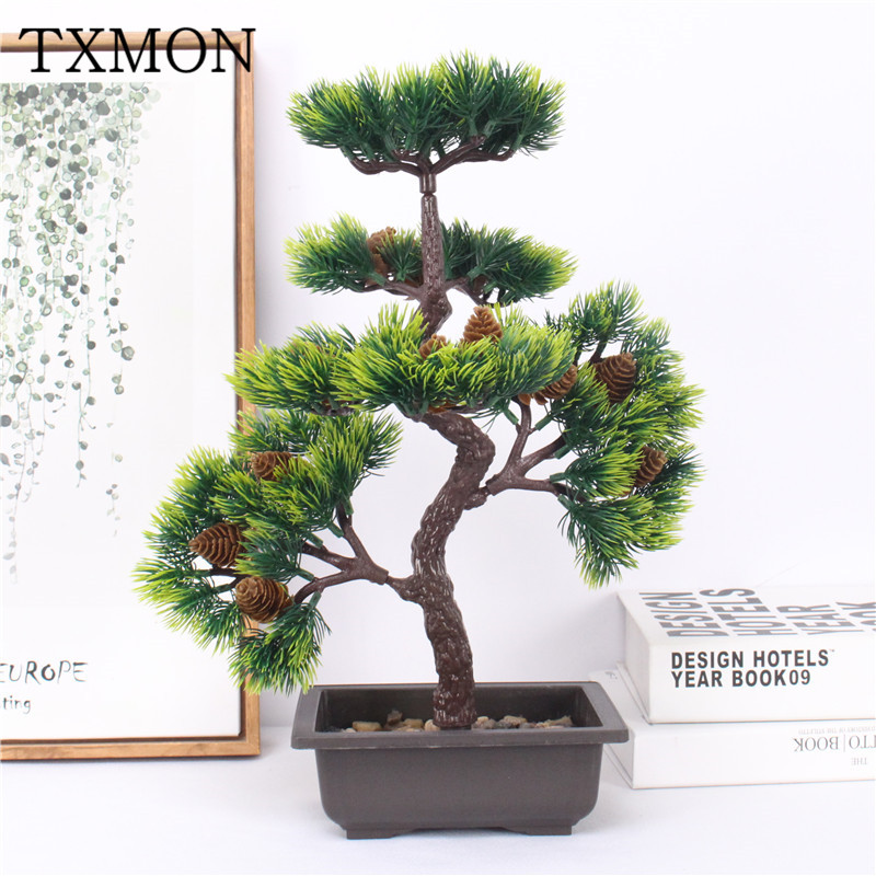 High-end simulation welcoming pine bonsai green plastic green plant potted desktop fake flower set hotel home decorationHigh-end simulation welcoming pine bonsai green plastic green plant potted desktop fake flower set hotel home decoration