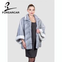 FURSARCAR Bat Sleeved Real Fur Coat Women Winter New Style Thick Mink Fur Coat With Fur Collar Female Luxury Mink Fur Jacket