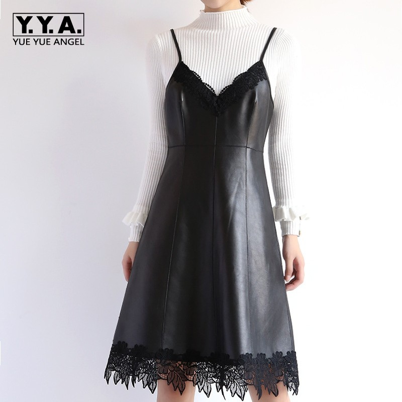 Women Spring New Sweet Lace Strap Dress Black Genuine Leather V Neck Party Ladies Vestidos High Waist Casual Knee Length Dresses