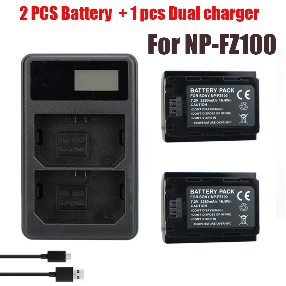2 piezas np fz100 batería recargable + LED doble puerto np-fz100 cargador para Sony NP-FZ100, BC-QZ1, sony a9, a7R III a7 III, ILCE-9