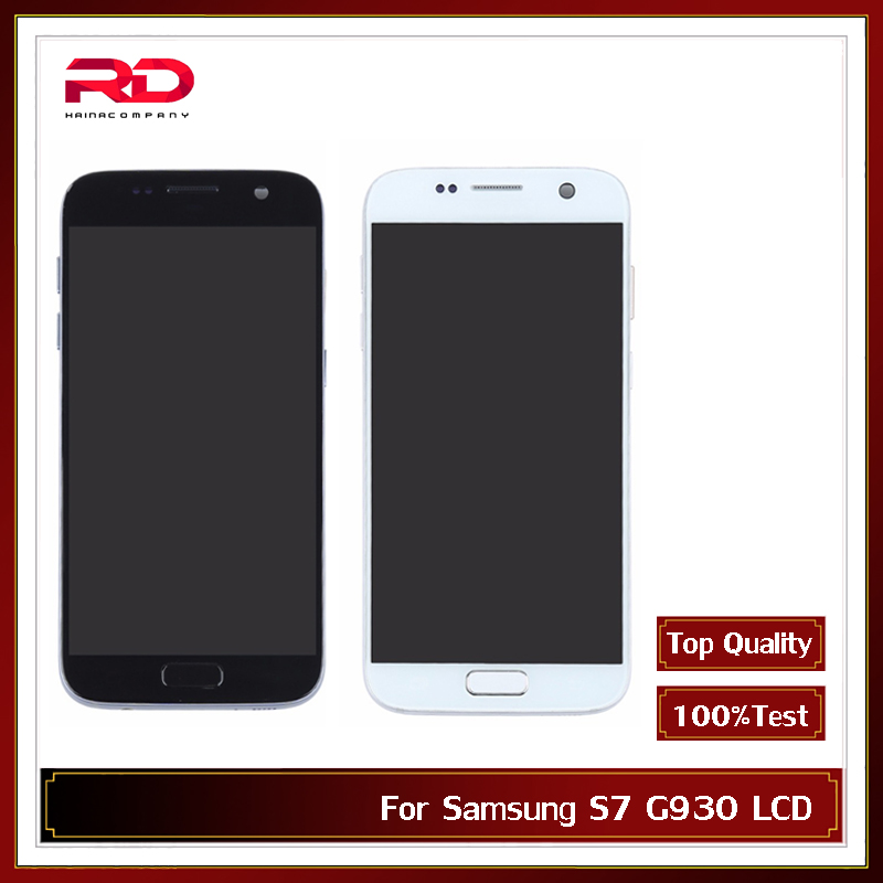 AMOLED <font><b>LCD</b></font> 5.5'' For <font><b>Samsung</b></font> <font><b>Galaxy</b></font> <font><b>S7</b></font> <font><b>LCD</b></font> G930 <font><b>G930F</b></font> <font><b>LCD</b></font> <font><b>Display</b></font> Touch Screen Digitizer Assembly with Frame Black Sliver image