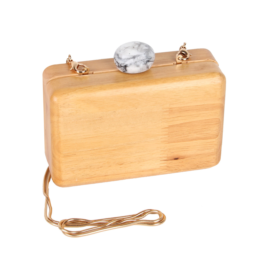 JULY S SONG Women Wooden Shoulder Bag Evening Party Wood Box Clutch Bag Ladies Hard Case