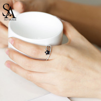 SA SILVERAGE Real 925 Sterling Silver Wedding Rings Black Gemstone Engagement Ring For Woman Silver 925 Jewelry Bridal Sets