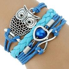 Gnova классический Для женщин синий кожаный браслет Сова Талисманы Паракорды для Обувь для девочек-подростков