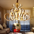 Unieke Gebogen Galvaniseren Chrome/Gold Metalen Hanglamp Woonkamer Luxe Glans Led Armatuur Suspension Lamp