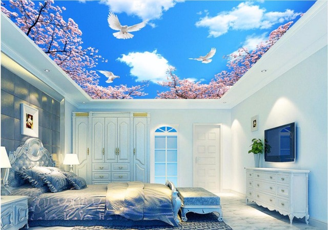 3d papier peint personnalis photo murale bleu ciel cerisiers plafond wallpap - Insonoriser sa chambre ...