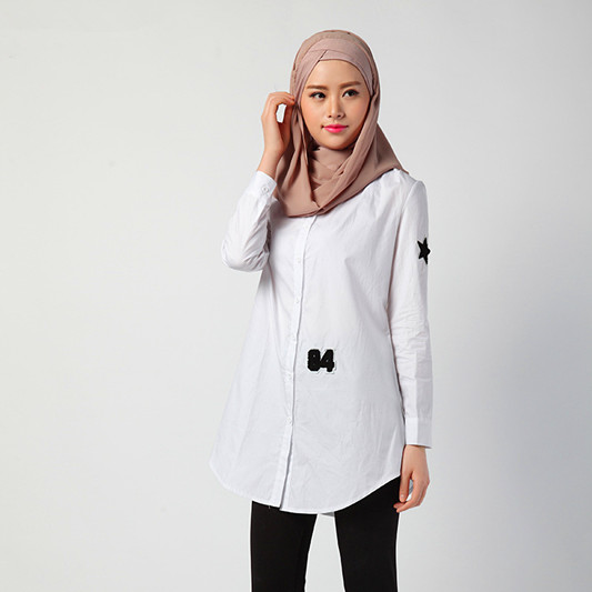 Black Appliques Solid White Muslim Women Long Top Wear Stand Neck Single Breasted Arab Girls Full