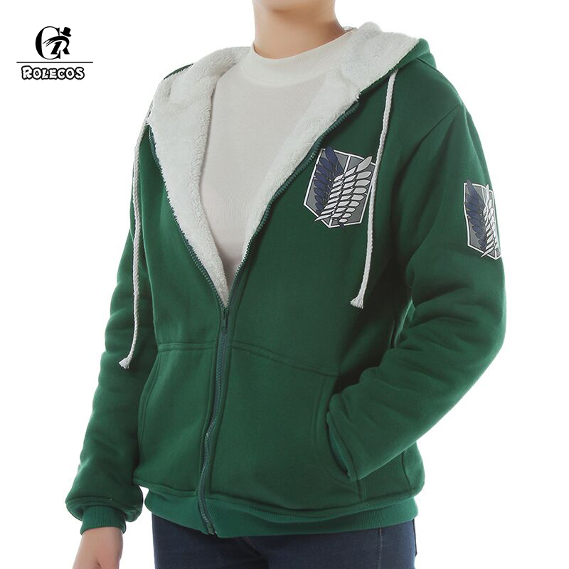 Japanese Anime Shingeki no Kyojin Attack on Titan Cosplay Costume Winter Warm Green Jacket Brand Autumn Hoodies