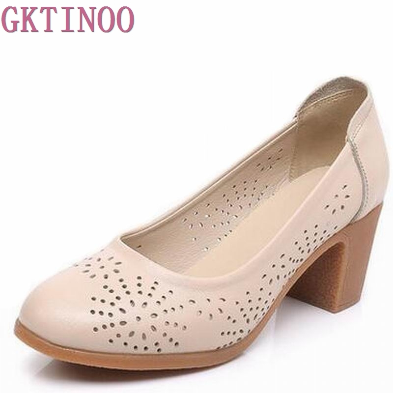 New Women's High Heels Pumps Sexy Bride Party Thick Heel Round Toe Genuine leather High Heel Shoes for office lady Women T8802 globo agam 3419