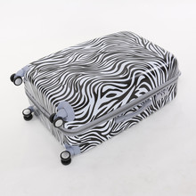 Wholesale!24 inch female pc hardside trolley luggage bag on universal wheels,fashion zebra printed travel luggage for women