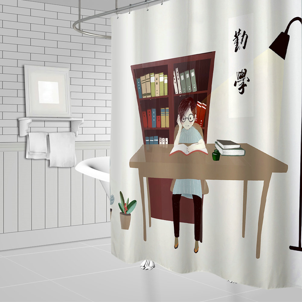 Unique Design Girl in The Study Room Reading Pictures Hanging Shower Curtain Waterproof Mildew Polyester Fabric Home Bathroom