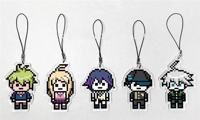 Anime Danganronpa V3: Killing Harmony Kokichi Oma Ki bo Shuichi Pixel Keychain Cartoon Cosplay Keyring  Christmas Gift Pendant