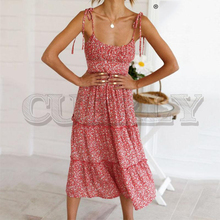 CUERLY Floral print long holiday dress for women Summer spaghetti strap ruched beach dress Female blue elegant vestidos 2019 spaghetti strap floral print ruched bikini set