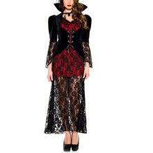 Взрослый готика, вампир косплей-костюмы королевы кружева длинное платье Хэллоуин Костюм Вампира женщины королева ролевые Маскарад Fany Dr