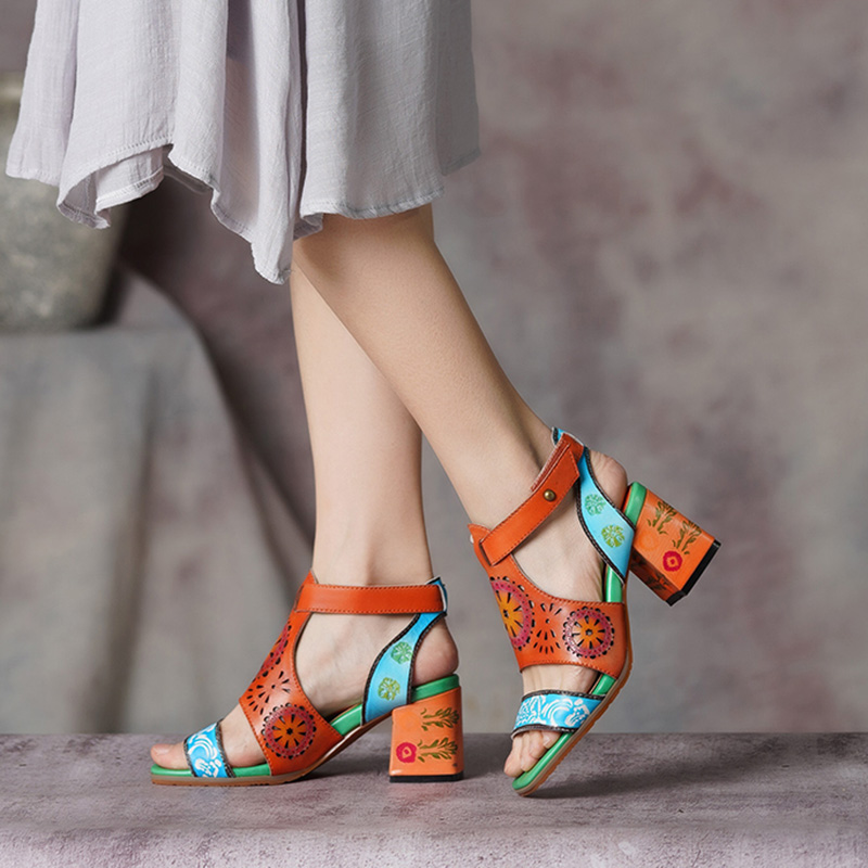 2019 Ethnic Style Shoes Women Sandals Block Heels Mixed Color Ankle Strap Open Toes Handmade Vintage
