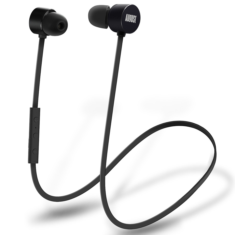 August EP616 Magnet Wireless Bluetooth Earphones with Microphone IPX4 Waterproof aptX Bluetooth Sports Earphone for Running,Gym