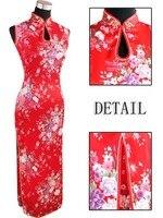 Kırmızı Vintage Çin kadın Ipek Rayou Halter Uzun Cheongsam Qipao elbise Çiçek Boyut Sml XL XXL Ücretsiz Kargo J5111