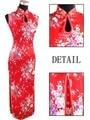 Rojo de La Vendimia de Las Mujeres Chinas de Seda Rayou Halter Largo Cheongsam Qipao vestido de Flores Tamaño Sml XL XXL Envío Gratis J5111