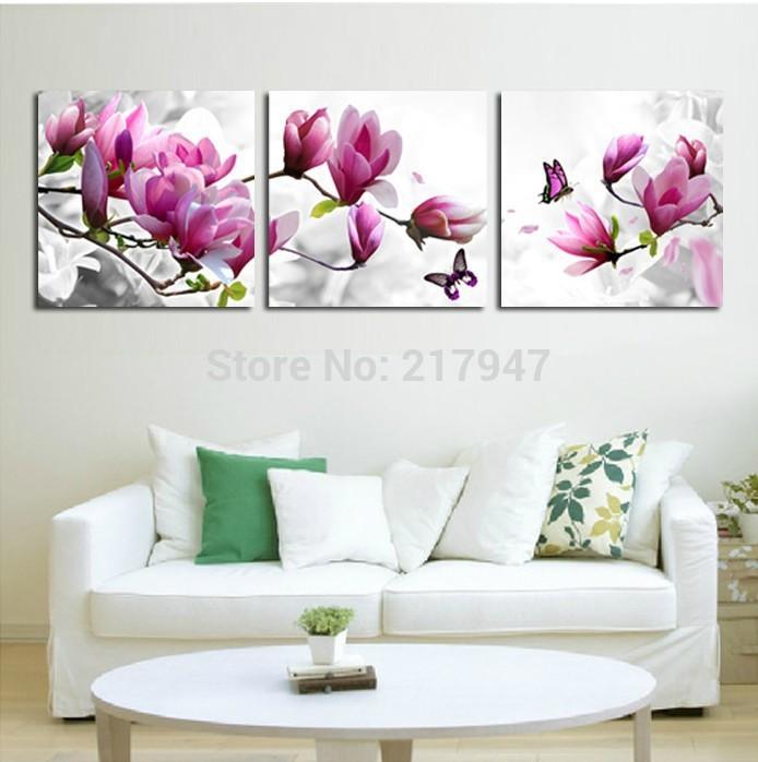 Luxury Elegant 3PCS Canvas Modern Wall Painting Purple Pink Blue Flower Home Decoration Art Picture Paint on Canvas Prints HD