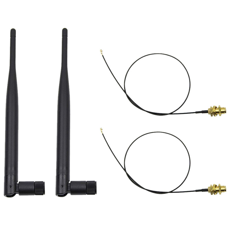 2 x 6dBi Dual Band M.2 IPEX MHF4 U.fl Cable to RP-SMA Wifi Antenna Set for Intel AC 9260 9560 8265 8260 7265 7260 NGFF M.2 Card(China)