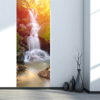 3D Post Thailand Forest Waterfall Wooden Doors Sitting Room Door Since The Adhesive Decoration Waterproof Gate Stickers